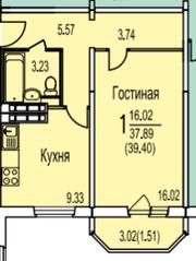 ЖК «Ледово», планировка 1-комнатной квартиры, 39.40 м²