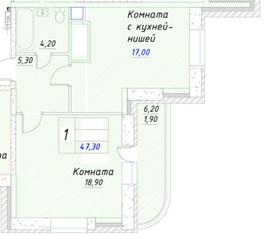 ЖК «Ледово», планировка 2-комнатной квартиры, 47.60 м²