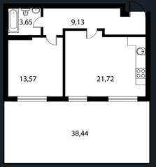 МЖК «Парк Апрель», планировка 2-комнатной квартиры, 48.00 м²