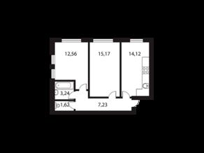 МЖК «Парк Апрель», планировка 2-комнатной квартиры, 53.90 м²