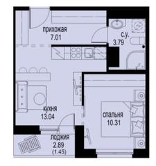 ЖК «ID Кудрово», планировка 1-комнатной квартиры, 35.60 м²