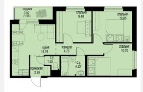 ЖК «ID Кудрово», планировка 3-комнатной квартиры, 61.02 м²