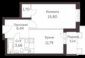 ЖК «Аквилон Митино», планировка 1-комнатной квартиры, 40.85 м²