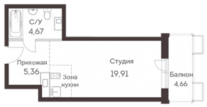 ЖК «Аквилон Митино», планировка студии, 31.06 м²