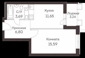 ЖК «Аквилон Митино», планировка 1-комнатной квартиры, 39.16 м²