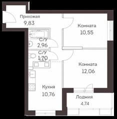 ЖК «Аквилон Митино», планировка 2-комнатной квартиры, 50.00 м²