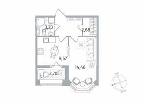 ЖК «Новое Купчино», планировка 1-комнатной квартиры, 36.59 м²