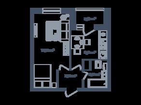 ЖК Светлый мир «Станция «Л», планировка 1-комнатной квартиры, 35.15 м²