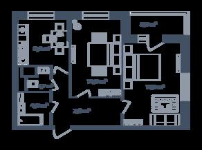 ЖК Светлый мир «Станция «Л», планировка 2-комнатной квартиры, 54.50 м²