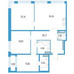 ЖК «Дефанс», планировка 3-комнатной квартиры, 128.38 м²