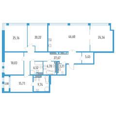 ЖК «Дефанс», планировка 5-комнатной квартиры, 211.07 м²