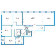 ЖК «Дефанс», планировка 5-комнатной квартиры, 211.78 м²