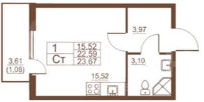 ЖК «Полет», планировка студии, 23.67 м²