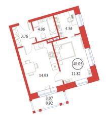 ЖК «Ariosto!», планировка 1-комнатной квартиры, 40.05 м²