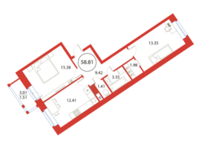 ЖК «Ariosto!», планировка 2-комнатной квартиры, 58.81 м²
