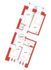 ЖК «Ariosto!», планировка 3-комнатной квартиры, 78.81 м²