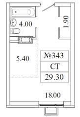 ЖК «Видный берег 2», планировка студии, 29.30 м²
