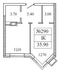 ЖК «Видный берег 2», планировка 1-комнатной квартиры, 35.90 м²