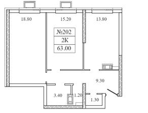 ЖК «Видный берег 2», планировка 2-комнатной квартиры, 63.00 м²