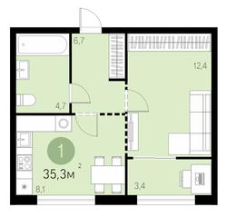 ЖК «Первый квартал», планировка 1-комнатной квартиры, 35.30 м²