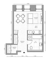 МФК «B'aires», планировка 1-комнатной квартиры, 29.75 м²