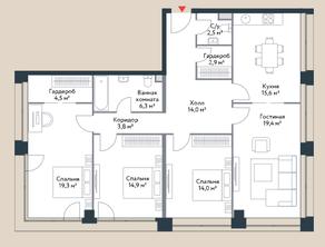 МФК «Ривер Парк», планировка 4-комнатной квартиры, 116.70 м²