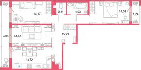 ЖК «Европейский парк», планировка 3-комнатной квартиры, 82.52 м²