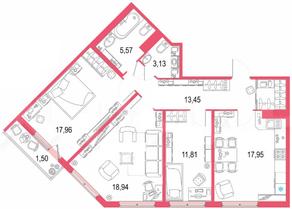 ЖК «Европейский парк», планировка 3-комнатной квартиры, 90.31 м²