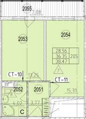 МФК «Avenue-Apart на Дыбенко», планировка 1-комнатной квартиры, 38.47 м²