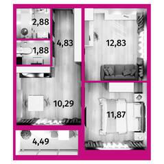 Апарт-отель «Avenue-Apart на Дыбенко», планировка 2-комнатной квартиры, 46.86 м²
