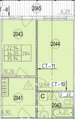 МФК «Avenue-Apart на Дыбенко», планировка 1-комнатной квартиры, 36.23 м²