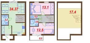 МЖК «Ломоносовская усадьба», планировка 2-комнатной квартиры, 88.60 м²