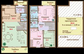 МЖК «Ломоносовская усадьба», планировка 4-комнатной квартиры, 138.10 м²