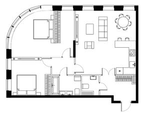 ЖК «Bauman House», планировка 3-комнатной квартиры, 90.90 м²