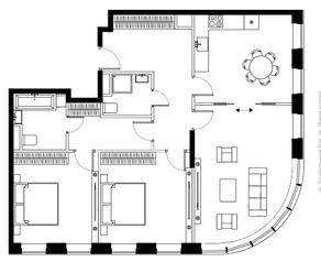 ЖК «Bauman House», планировка 3-комнатной квартиры, 90.20 м²