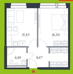 МФК «Citimix», планировка 1-комнатной квартиры, 48.50 м²
