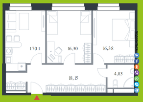 МФК «Citimix», планировка 2-комнатной квартиры, 72.70 м²