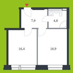 МФК «Citimix», планировка 1-комнатной квартиры, 46.00 м²
