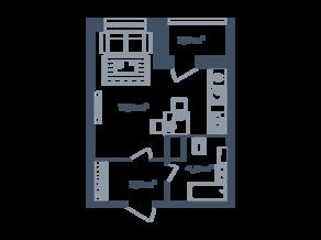 ЖК Светлый мир «Станция «Л», планировка студии, 26.95 м²