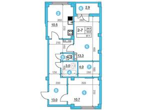 ЖК «O'Range», планировка 2-комнатной квартиры, 57.10 м²