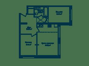 МФК «Dom Smile», планировка 3-комнатной квартиры, 61.58 м²