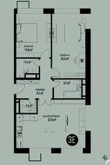 ЖК «Квартал на Никулинской», планировка 3-комнатной квартиры, 79.30 м²