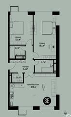 ЖК «Квартал на Никулинской», планировка 3-комнатной квартиры, 79.10 м²