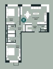 ЖК «Квартал на Никулинской», планировка 3-комнатной квартиры, 75.90 м²