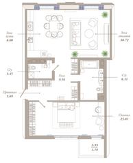 ЖК «Приоритет», планировка 2-комнатной квартиры, 92.02 м²