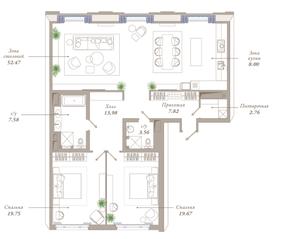 ЖК «Приоритет», планировка 3-комнатной квартиры, 135.59 м²