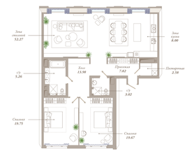 ЖК «Приоритет», планировка 3-комнатной квартиры, 132.35 м²