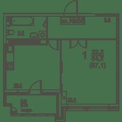 ЖК «Квартал 38А», планировка 1-комнатной квартиры, 572.00 м²