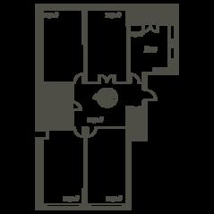 ЖК «Квартал 38А», планировка 4-комнатной квартиры, 178.40 м²