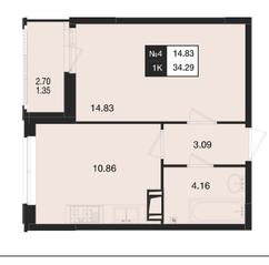 ЖК «Нижегородская 74», планировка 1-комнатной квартиры, 34.29 м²
